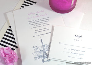 Paris Skyline Wedding Invitations Package (Sold in Sets of 10 Invitations, RSVP Cards + Envelopes)