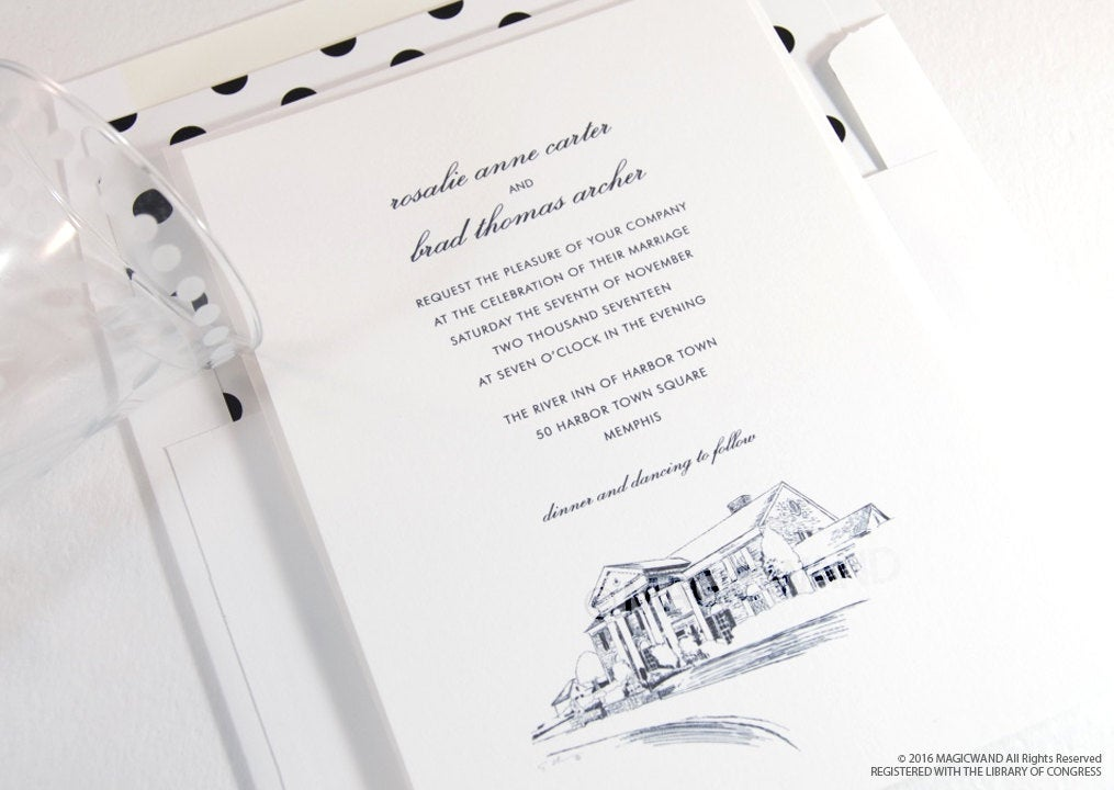 Graceland  Wedding Invitations, Nashville Tennessee Wedding, Elvis House, Mansion (Sold in Sets of 10 Invitations, RSVP Cards + Envelopes)