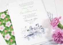Load image into Gallery viewer, New York Central Park Wedding Invitation, New York Wedding, NY Wedding, NYC, Hand Drawn (Sold in Sets of 10 Invitations)