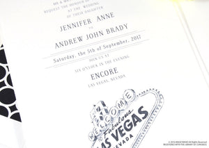 Las Vegas Sign Destination Wedding Invitations Package (Sold in Sets of 10 Invitations, RSVP Cards + Envelopes)