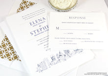 Load image into Gallery viewer, Oklahoma City Skyline Wedding Invitations Package (Sold in Sets of 10 Invitations, RSVP Cards + Envelopes)
