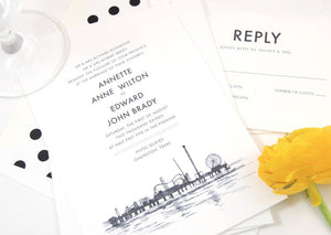 Galveston, Texas Skyline Wedding Invitations Package (Sold in Sets of 10 Invitations, RSVP Cards + Envelopes)