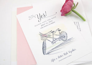 Rustic Weddings Save the Date Cards, Bicycle Built for Two with flowers, bike for 2 Hand Drawn  (set of 25 cards and envelopes)