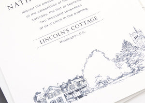 Lincoln's Cottage, Washington D.C. Hand Drawn Wedding Invitations Package (Sold in Sets of 10 Invitations, RSVP Cards + Envelopes)