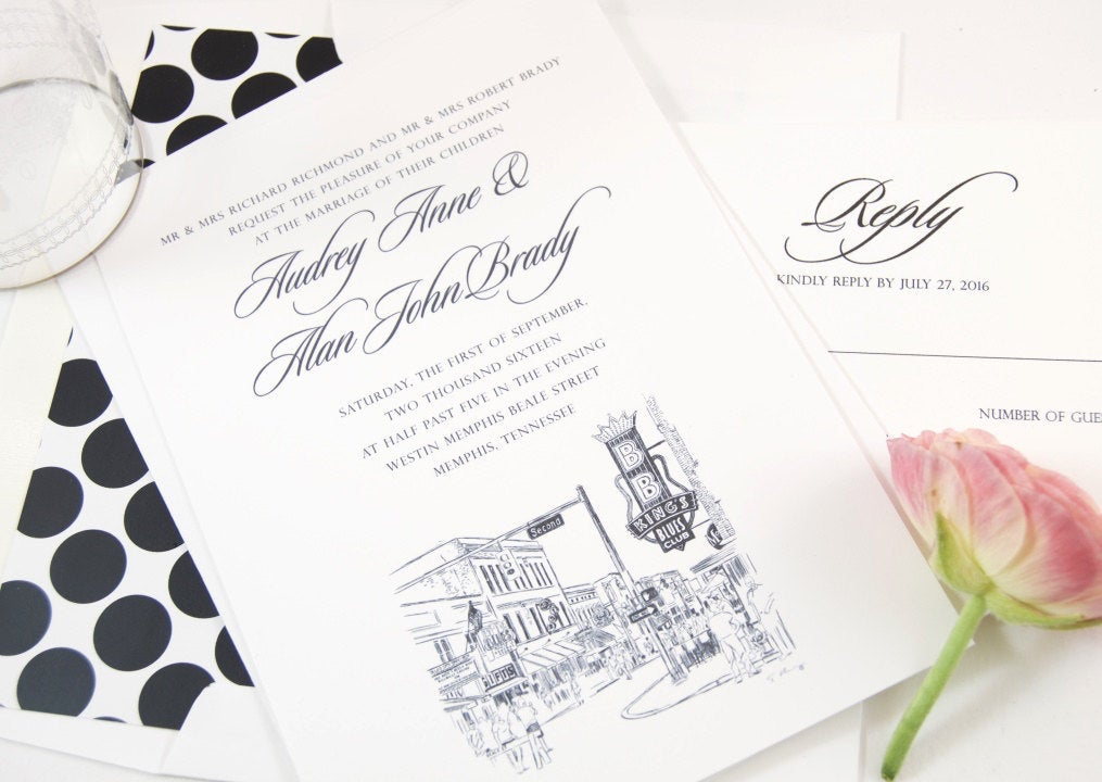 Beale Street, Memphis Skyline Wedding Invitation Package (Sold in Sets of 10 Invitations, RSVP Cards + Envelopes)