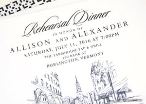Burlington Skyline Rehearsal Dinner Invitations (set of 25 cards)