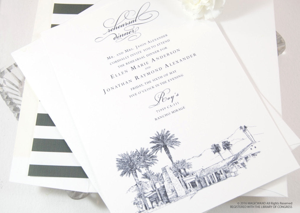 Thunderbird Country Club Skyline Rehearsal Dinner Invitations (set of 25 cards)