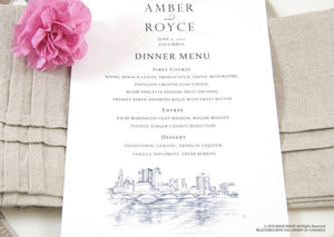 Columbus, Ohio Skyline Dinner Menus (Sold in sets of 25)