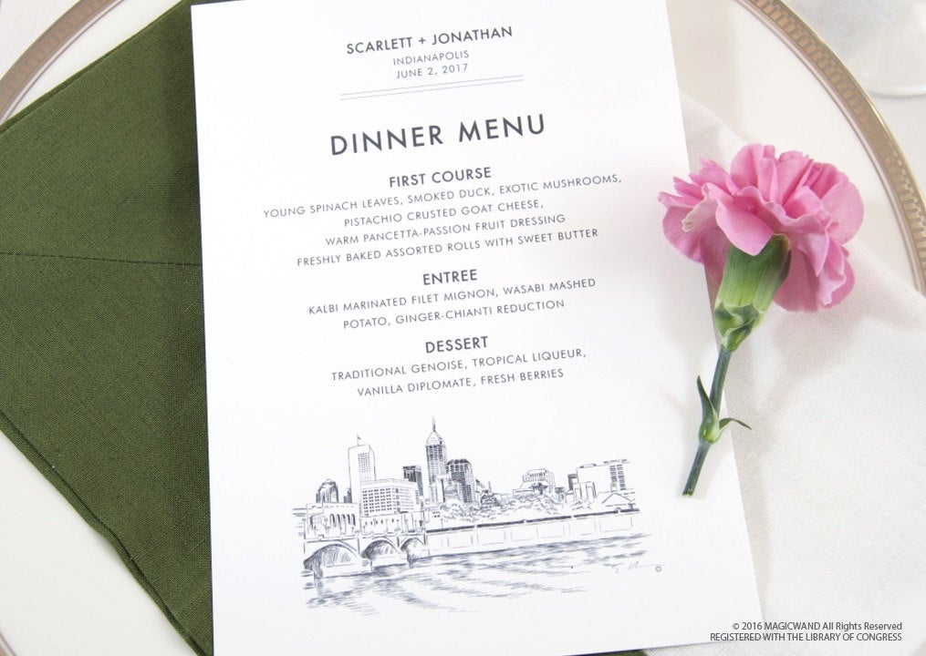 Indianapolis Skyline Dinner Menus (Sold in sets of 25)