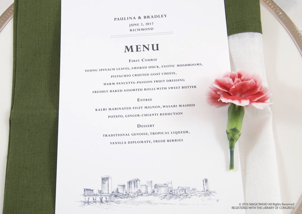 Richmond Skyline Dinner Menus (Sold in sets of 25)