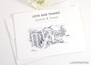 Phoenix Skyline Wedding Thank You Cards, Personal Note Cards, Bridal Shower Thank you Cards (set of 25 cards)