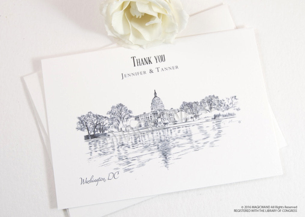 Washington, DC Skyline Wedding Thank You Cards, Personal Note Cards, Bridal Shower Thank you Cards (set of 25 cards)
