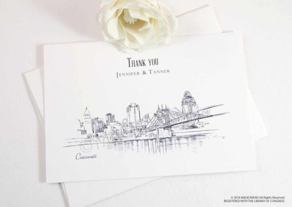 Cincinnati Skyline Wedding Thank You Cards, Personal Note Cards, Bridal Shower Thank you Cards (set of 25 cards)