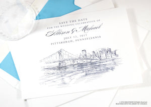 Pittsburgh Wedding Save the Date Cards, Save the Dates,  (set of 25 cards)