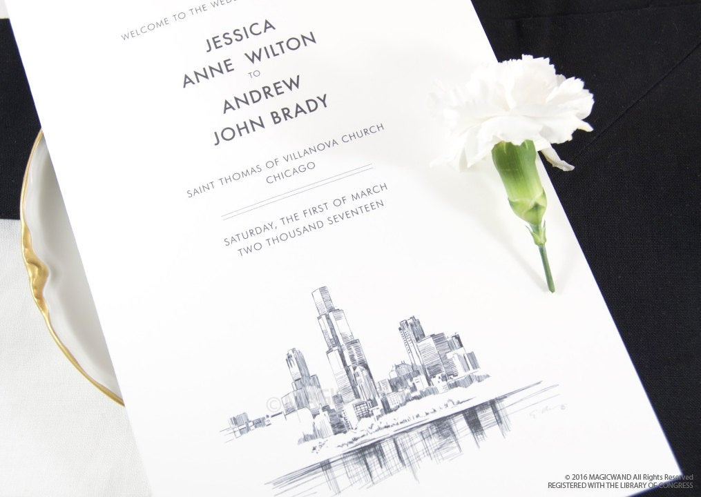 Chicago Skyline Wedding Programs (set of 25 cards)