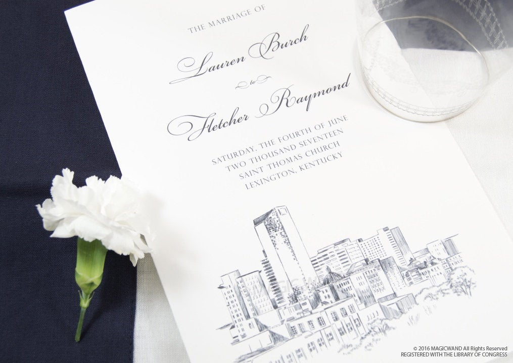 Lexington Skyline Wedding Programs (set of 25 cards)