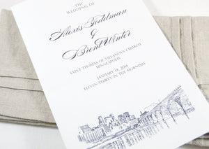 Minneapolis Skyline Wedding Programs (set of 25 cards)