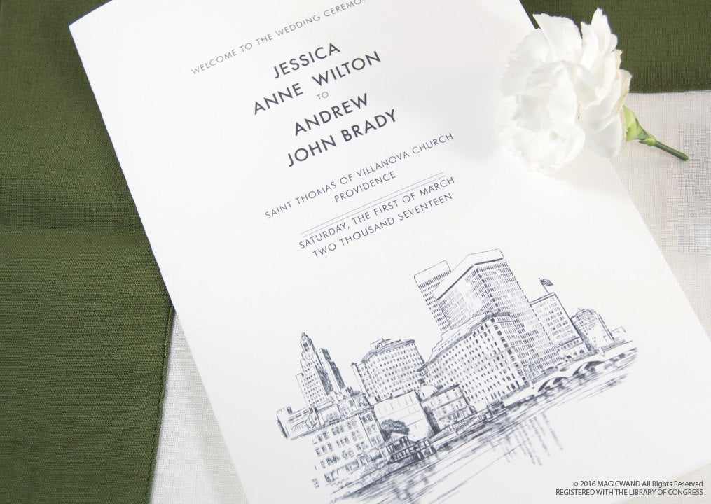 Providence Skyline Wedding Programs (set of 25 cards)