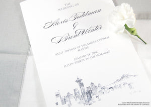 Seattle Skyline Wedding Programs (set of 25 cards)