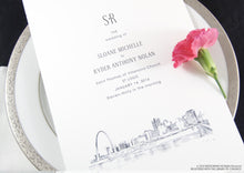 Load image into Gallery viewer, St Louis Skyline Wedding Programs (set of 25 cards)