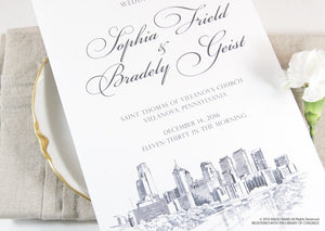 Philadelphia Skyline Wedding Programs (set of 25 cards)