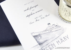 Queen Mary Skyline Wedding Programs (set of 25 cards)