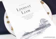 Load image into Gallery viewer, Santa Monica Pier Skyline Wedding Programs (set of 25 cards)