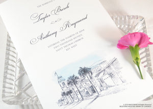 Key West Skyline Destination Wedding Programs (set of 25 cards)