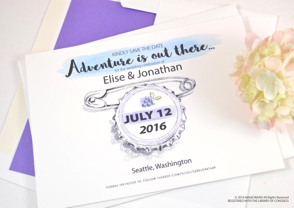 UP Save the Dates, Grape Soda Bottle Cap, Save the Date, Fairytale Wedding Theme Save the Date Cards (set of 25 cards)