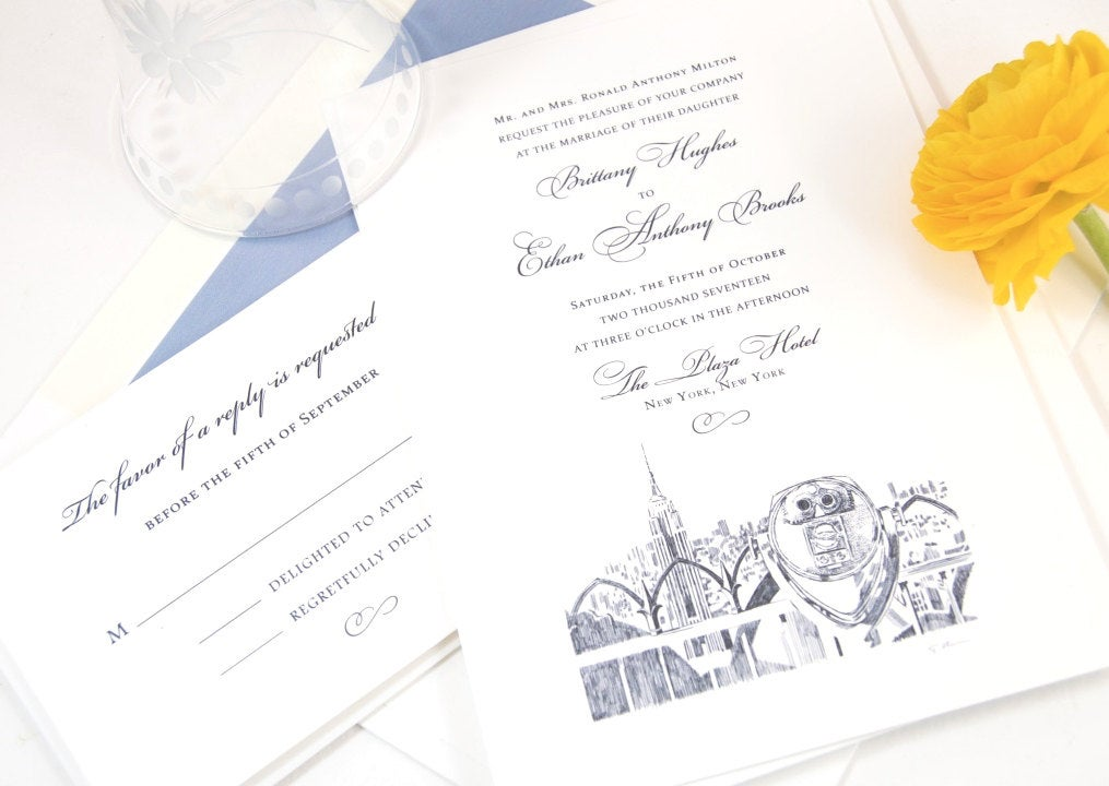 New York City Empire State Building Hand Drawn Wedding Invitation Package (Sold in Sets of 10 Invitations, RSVP Cards + Envelopes)