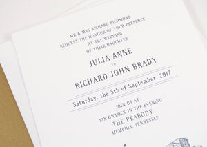 The Peabody Memphis Skyline Wedding Invitations Package (Sold in Sets of 10 Invitations, RSVP Cards + Envelopes)