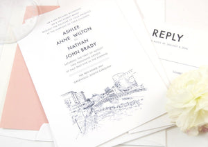 Greenville Skyline Wedding Invitations, Greenville Wedding, South Carolina, Invite (Set of 10 Invitations, RSVP Cards + Envelopes)