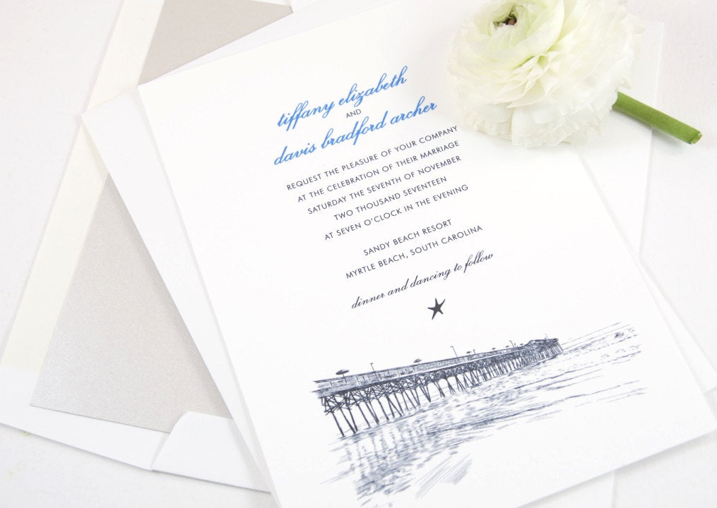 Myrtle Beach Skyline Hand Drawn Wedding Invitations Package (Sold in Sets of 10 Invitations, RSVP Cards + Envelopes)