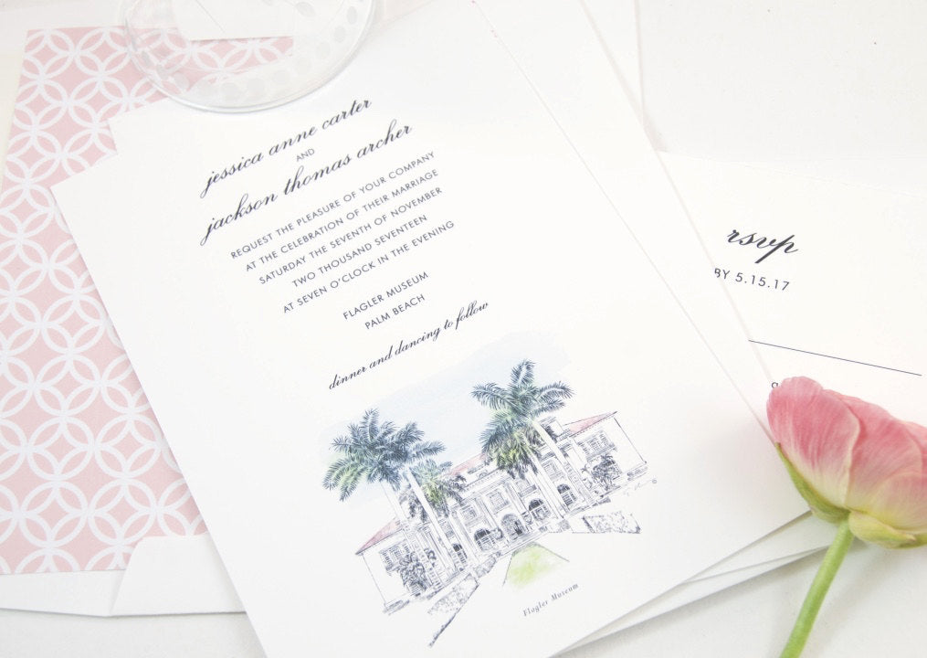 Flagler Museum, Palm Beach Florida Hand Drawn Wedding Invitations Package (Sold in Sets of 10 Invitations, RSVP Cards + Envelopes)