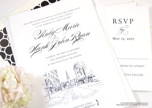 Burlington, Vermont Wedding Invitations Package (Sold in Sets of 10 Invitations, RSVP Cards + Envelopes)