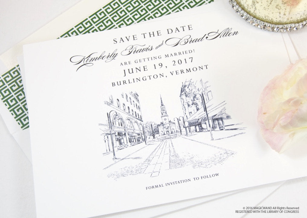 Burlington Skyline Save the Date Cards, Burlington Vermont Wedding Save the Dates (set of 25 cards and white envelopes)