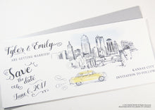 Load image into Gallery viewer, Kansas City Skyline Whimsical Save the Date Cards , Taxi Watercolor, Wedding (set of 25 cards)