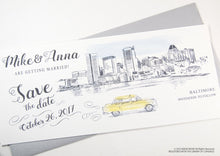 Load image into Gallery viewer, Baltimore Skyline Whimsical Save the Date Cards , Taxi Watercolor, Wedding (set of 25 cards)