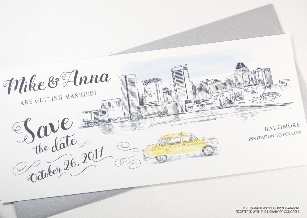 Baltimore Skyline Whimsical Save the Date Cards , Taxi Watercolor, Wedding (set of 25 cards)