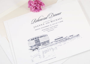 Milwaukee Discovery Museum Skyline Rehearsal Dinner Invitations (set of 25 cards)