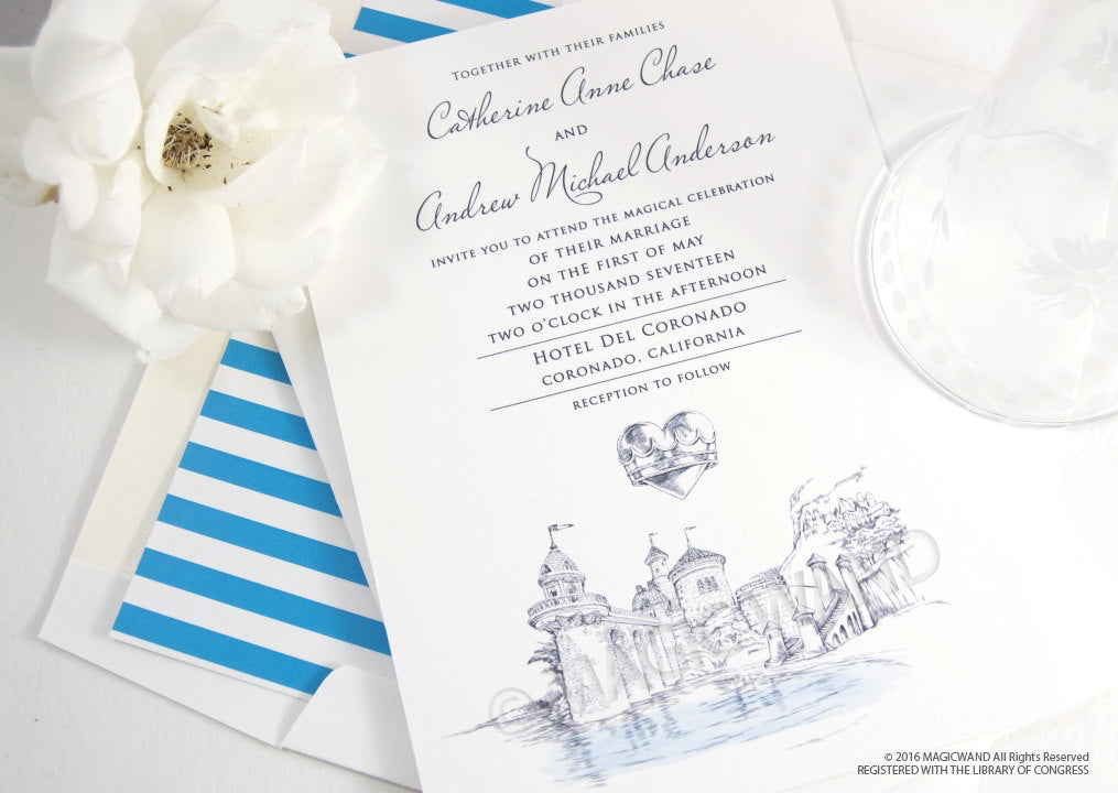 Little Mermaid Fairytale Wedding Invitation, Quinceañera Package (Sold in Sets of 10 Invitations, RSVP Cards + Envelopes)