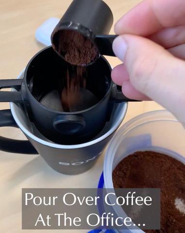Pour over coffee into filter