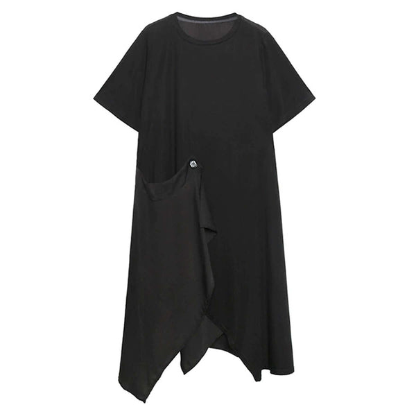 Ace Asymmetrical Draped Tee Dress - i.cluie.com