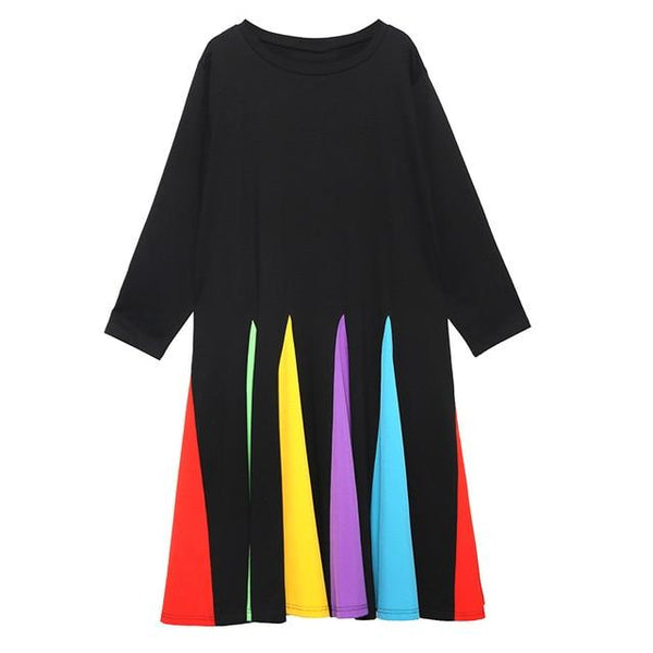 Alannah Multi-colour Godet Dress - i.cluie.com