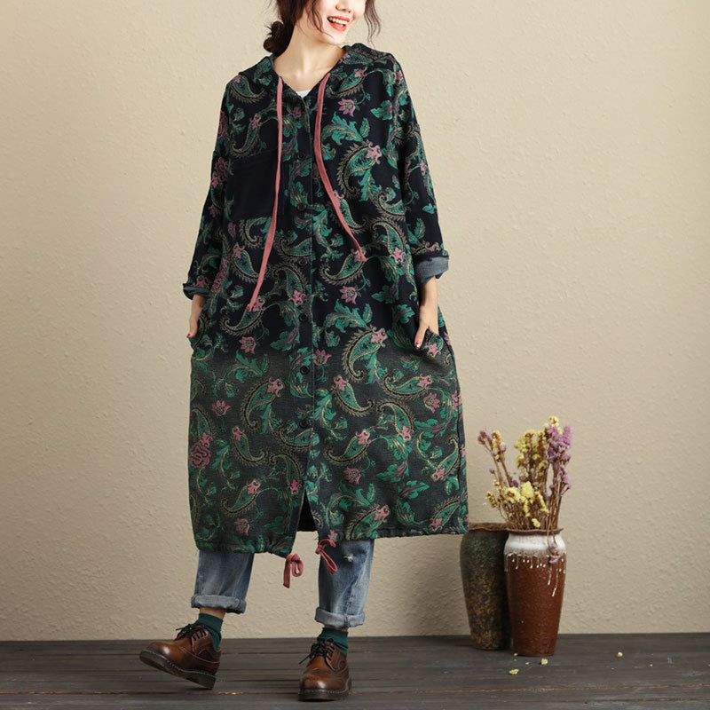 Brooklyn Floral Paisley Hooded Coat - i.cluie.com