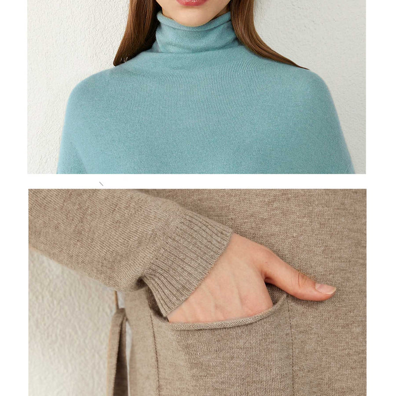 Chloe Midi Turtleneck Sweater Dress - i.cluie.com