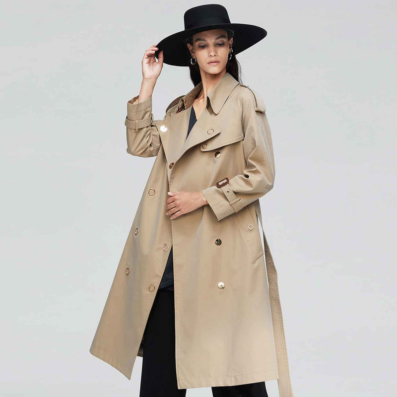 Daphne Belted Long Cotton Trench Coat - i.cluie.com