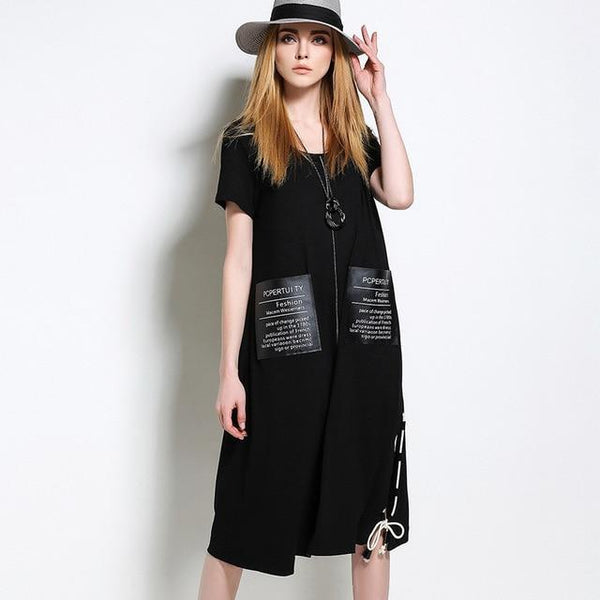 Delila Laced Slit Up Tee Dress - i.cluie.com