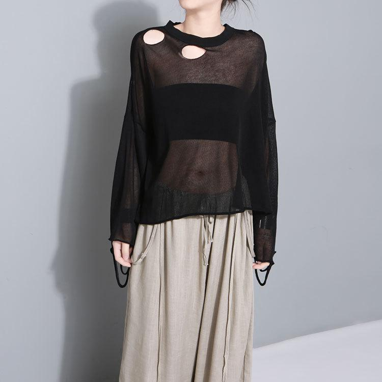 Dion Distressed Sheer Knit Top - i.cluie.com