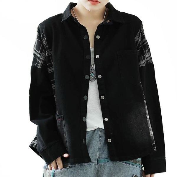Dylan Plaid Spliced Denim Jacket - i.cluie.com